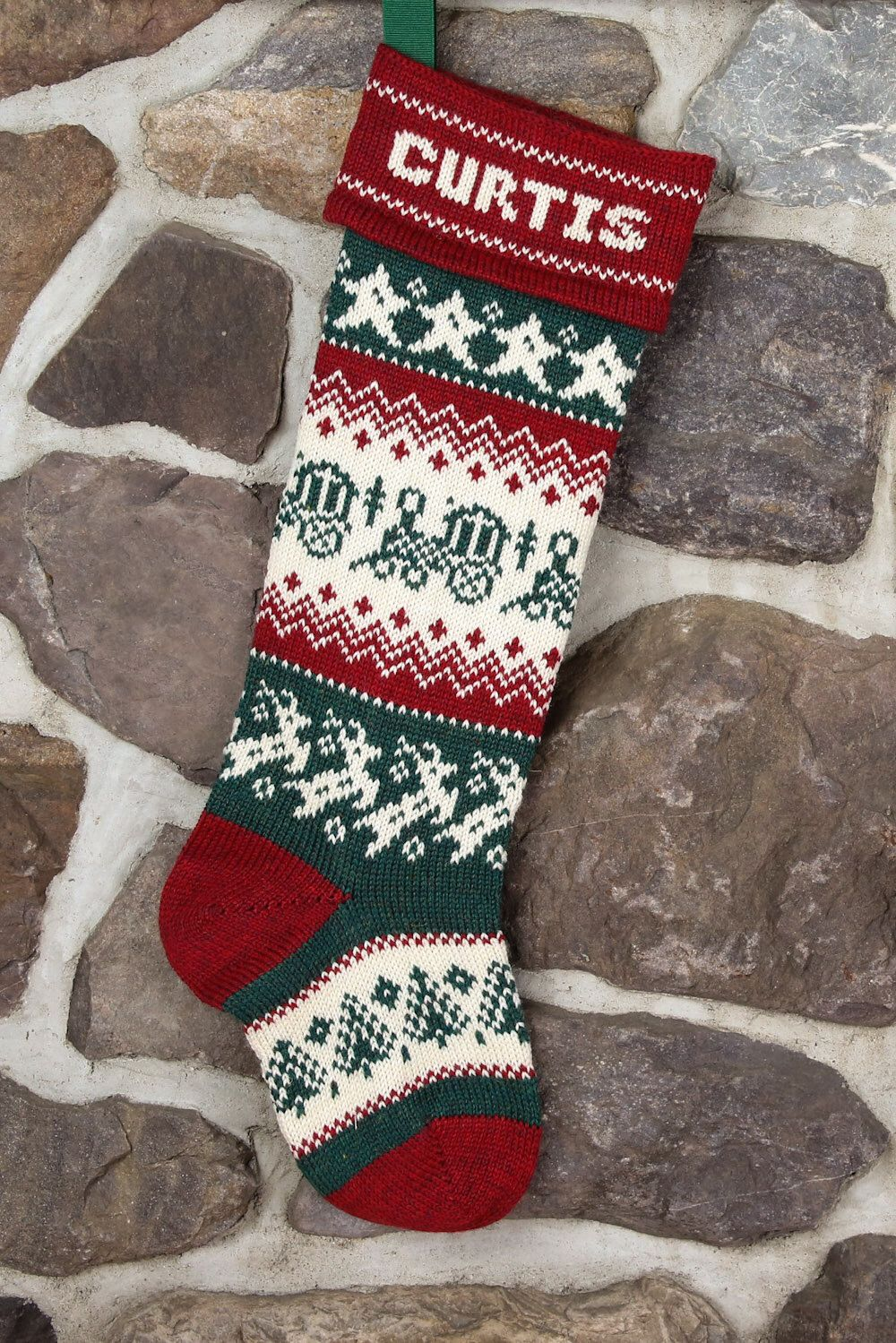 Personalized Christmas Stocking with a train by TerrapinKnits on Etsy https://www.etsy.com/listing/199973399/personalized-christmas-stocking-with-a