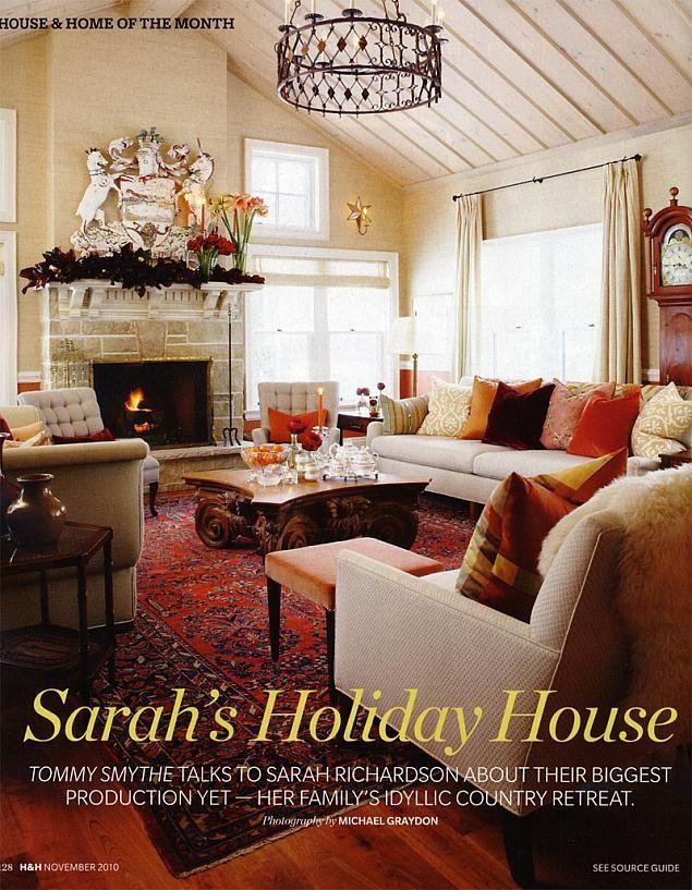 Sarah Richardson Farmhouse Living Room Like The Furniture Arrangement Light Colors W Red