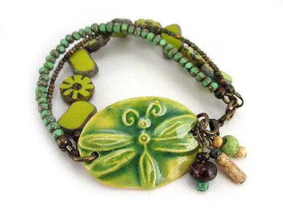 Ceramic Cuff Bracelet Lemon Lime Dragonfly Bracelet by AllTwisted