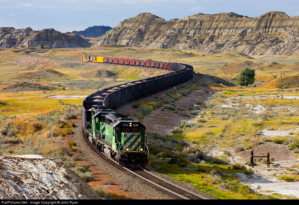 RailPictures.Net Photo: BNSF 7038 BNSF Railway EMD SD40-2 at Sully Springs, North Dakota by John Ryan