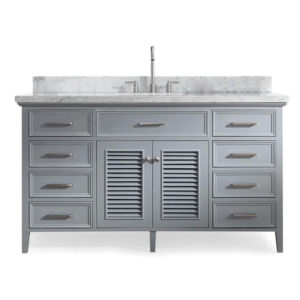 Ariel Kensington 61 In Bath Vanity In Grey With Marble Vanity Top