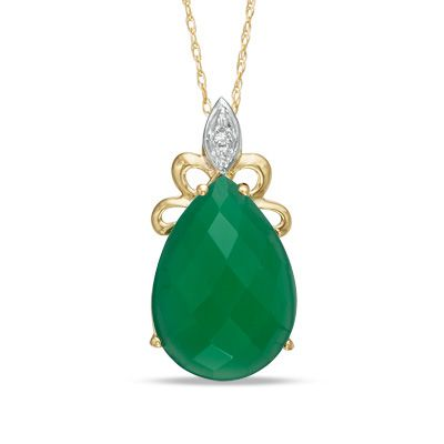 Pear-Shaped Green Onyx and Diamond Accent Pendant in 10K Gold - Zales
