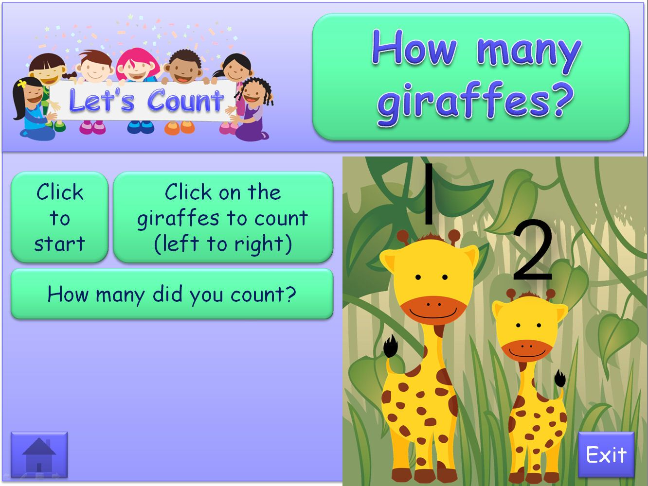 Let's Count in the Jungle, 1-5: Interactive PowerPoint that uses animation and action buttons. Sassoon Numbers and clear, colourful illustrations. Written text is in Comic Sans font