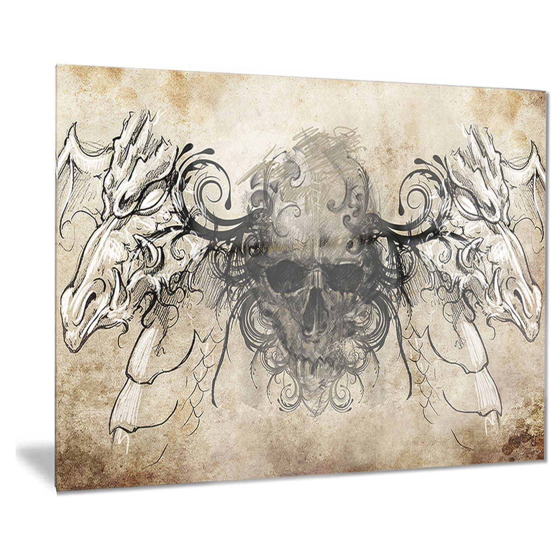 Designart uhuman skull tattoo sketchu digital art metal grey wall