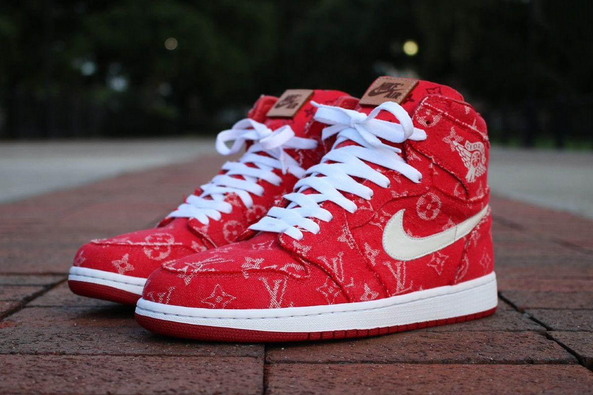 fed34bb641d  Supreme x Louis Vuitton  Custom Air Jordan 1  Red Denim  - EU Kicks   Sneaker Magazine.