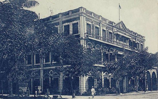 The old Royal Hotel at 619 Merchant Street between Brooking Street and 42nd Street (now the Gamon Pwint shopping centre between Bogalay-zay St and 42st). It was once considered the best in Rangoon together with the Strand and Minto Mansions. At least the building is still standing.