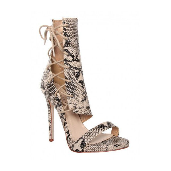 ea8828ecb61 Zika Nude Snake Lace Up Heels   Simmi Shoes ( 49) ❤ liked on Polyvore  featuring shoes