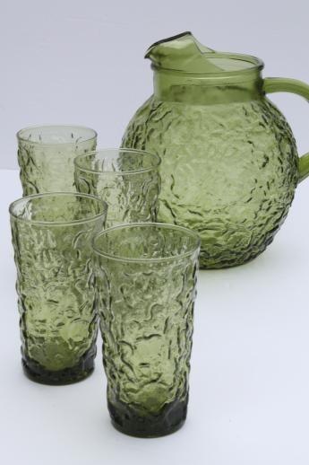 Vintage Green Glass Pitcher Glasses Set Lido Milano Anchor Hocking Vintage Green Glass Pitcher Glasses Vintage Green