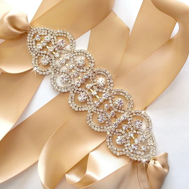 Gold Rhinestone Encrusted Bridal Belt Sash Custom Ribbon
