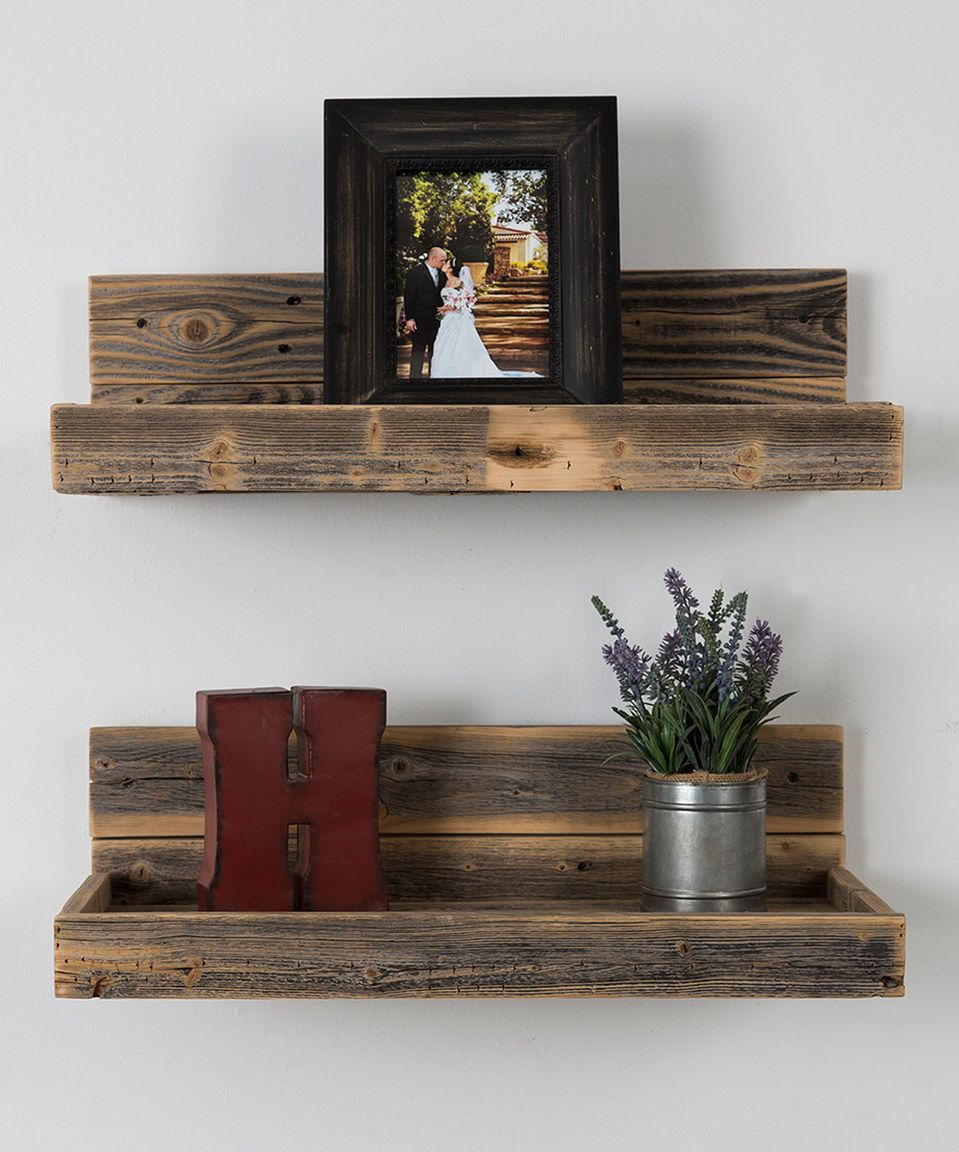 Look At This Zulilyfind Reclaimed Wood Floating Shelves Set Of Two By Delhutson Desi Reclaimed Wood Floating Shelves Wood Floating Shelves Floating Shelves