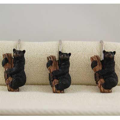 Black Bear Cubs Shower Curtain Hooks Bear Bathroom Decor Black