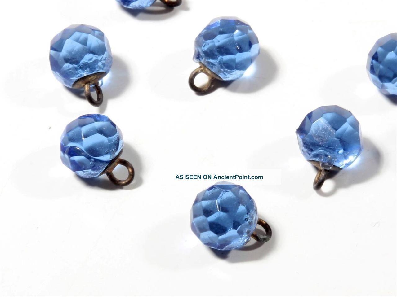 8mm Rare Victorian Vtg Czech Faceted Sapphire Glass Waistcoat Ball Buttons