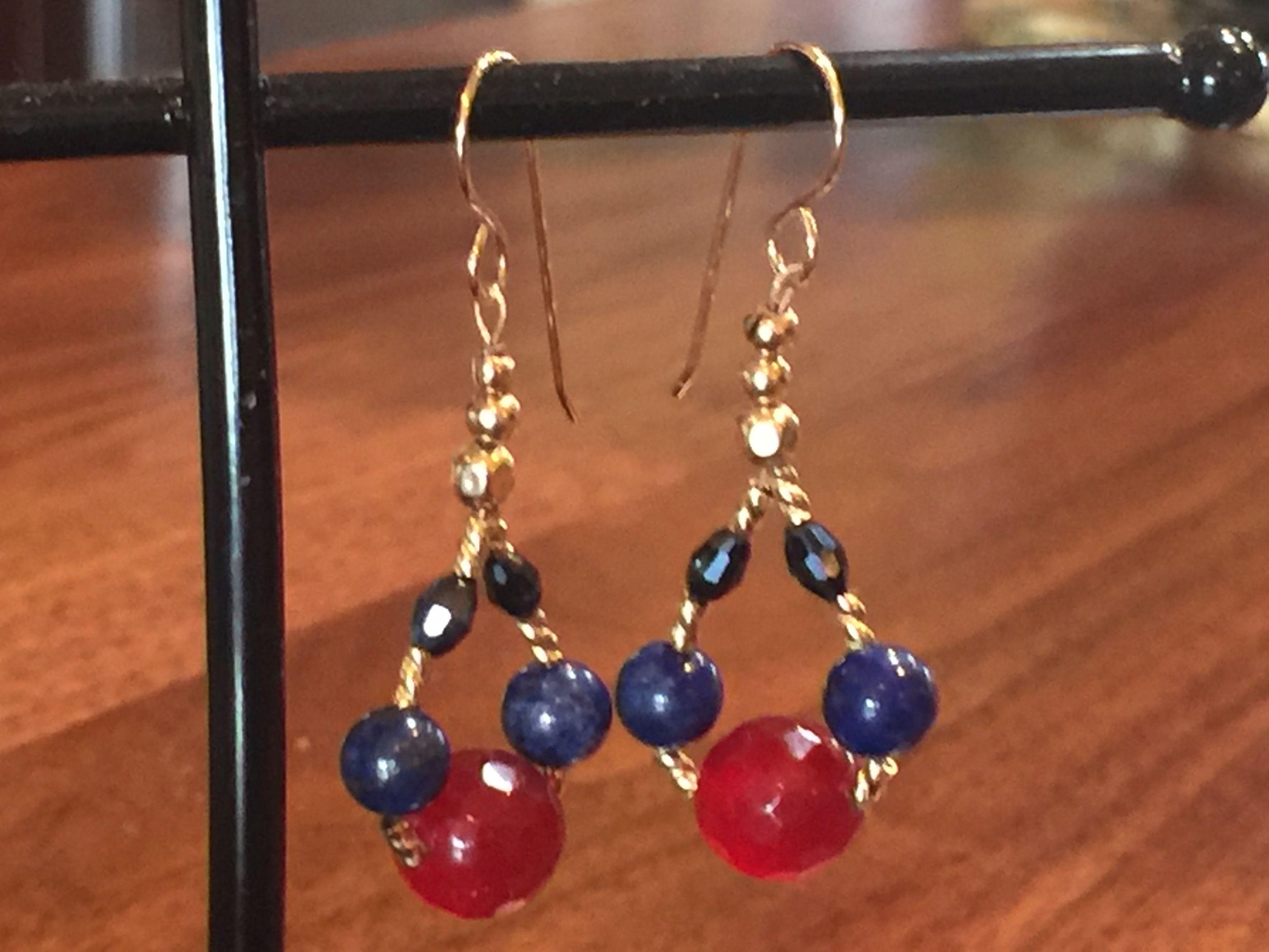 Semi-precious Lapis and Gold bead earrings