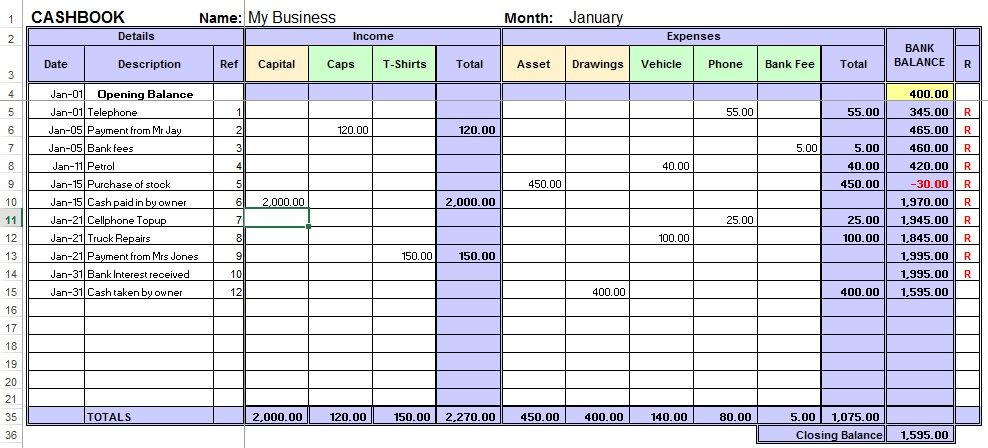 Excel Cash Book for Easy Bookkeeping info Small business