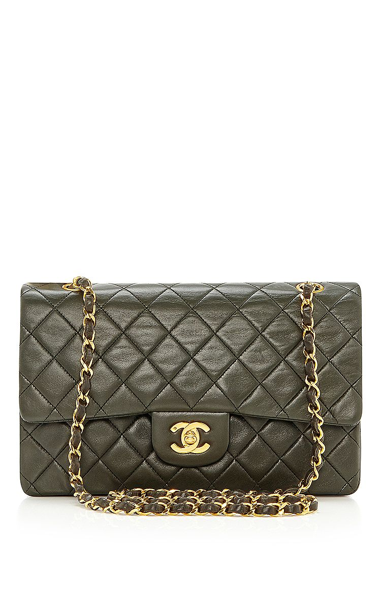 """Chanel Green Lambskin 2.55 10"""" by What Goes Around Comes Around for Preorder on Moda Operandi"""