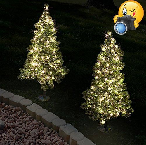Set of 2 - 3\u0027 Tall Artificial Pathway Christmas Trees for Indoor