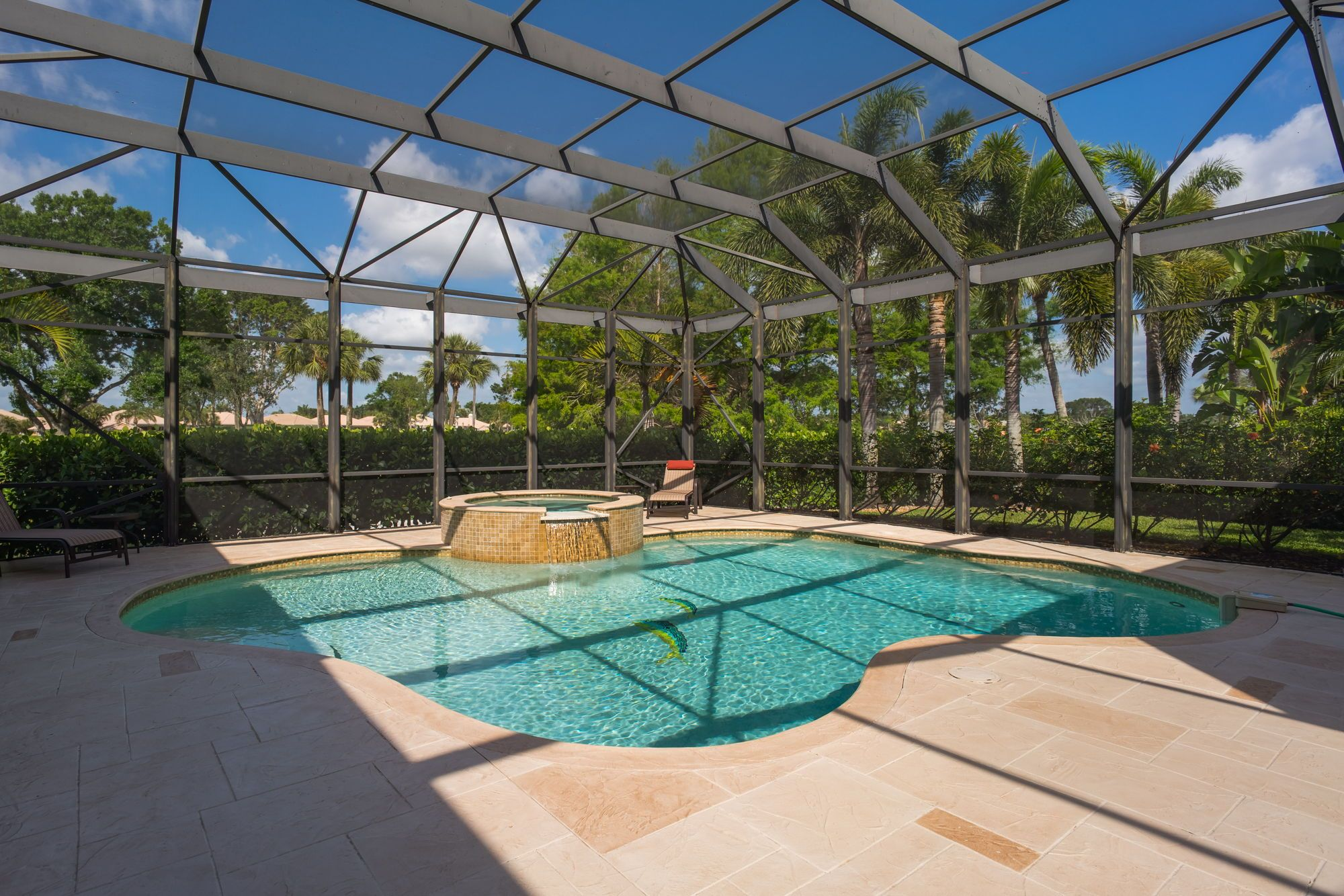 The Patio Was Recently Covered With An Architectural Overlay Concrete Design And Boasts A Custom Freeform Screene Patio Outdoor Kitchen Design Outdoor Kitchen