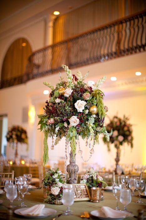 Tall Reception Arrangement With Roses And Greenery 1 Floral
