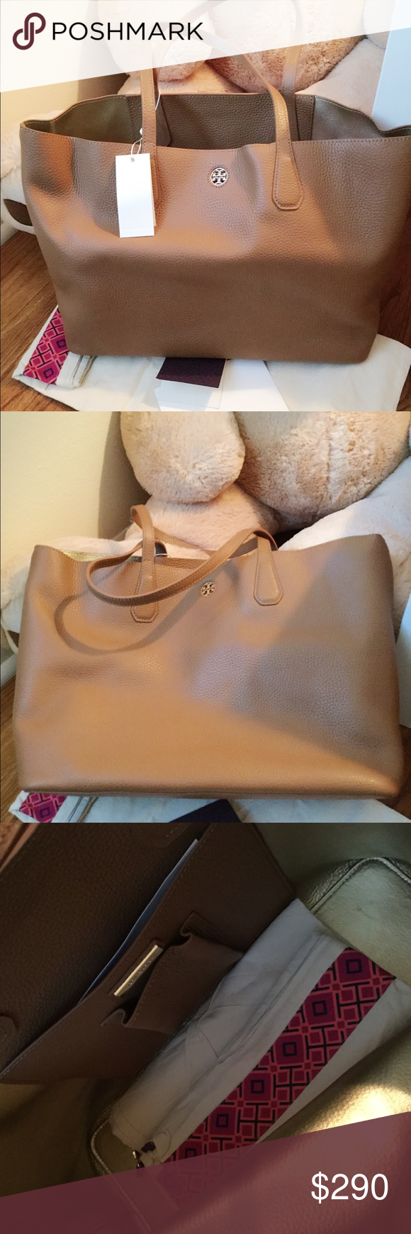"""Tory burch perry tote DETAILS & FIT Holds a 15"""" laptop, a pair of flats, a sweater, a continental wallet, a notebook, an agenda, sunglasses, an iPhone 6 Plus and a fragrance rollerball Pebbled leather with resin backing Open tote Flat handles with 9.4"""" (24 cm) drop 1 interior hanging pocket with 2 open pockets Height: 11.3"""" (28.5 cm) Length: 14.7"""" (37 cm) Depth: 5.9"""" (15 cm) Tory Burch Bags Totes"""