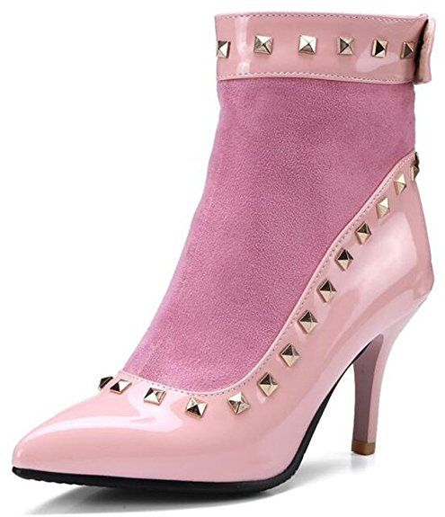 Women's Unique Studded Pointed Toe High Stiletto Heels Back Zipper Spliced Ankle Boots