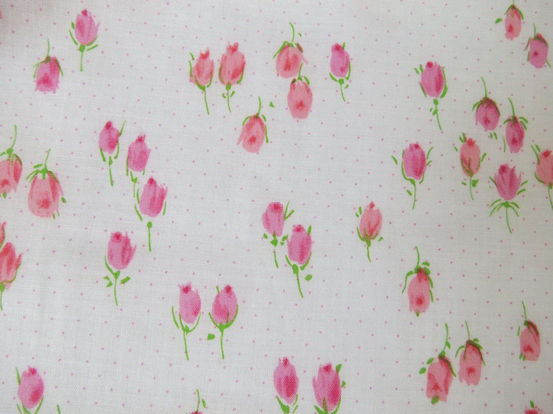 Antique Gorgeous Cottage Roses Floral Cotton Fabric ~  Deep Pink Blue Yellow