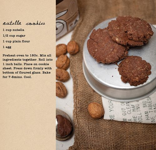 Recipe for super easy Nutella cookies.