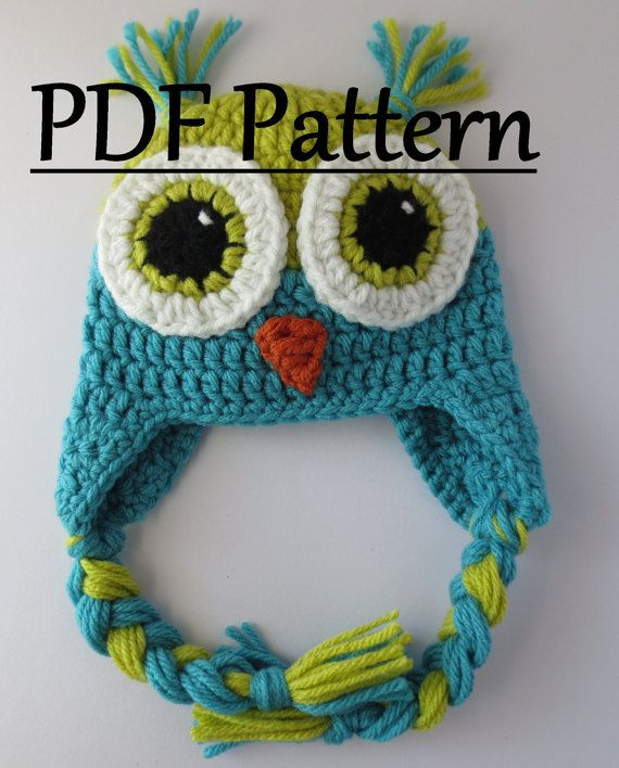CROCHET PATTERN Owl Hat Owl Hat Crochet Owl by LovelyLizardDesigns ...