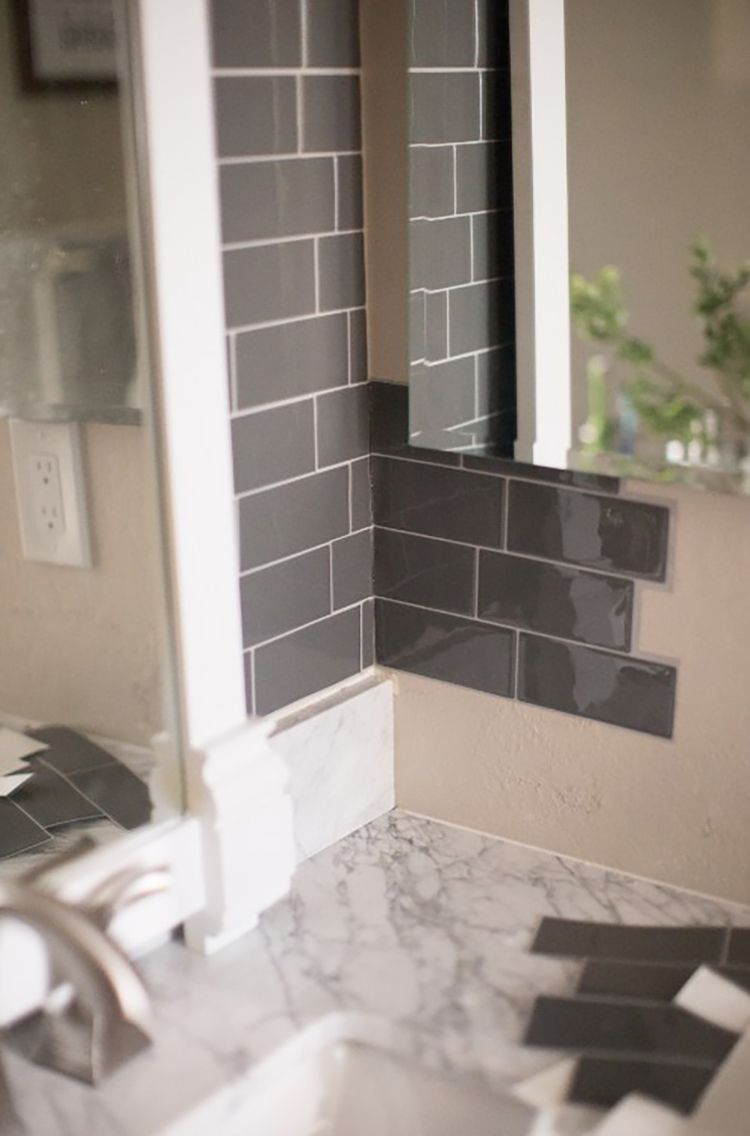 bathroom with peel and stick tiles