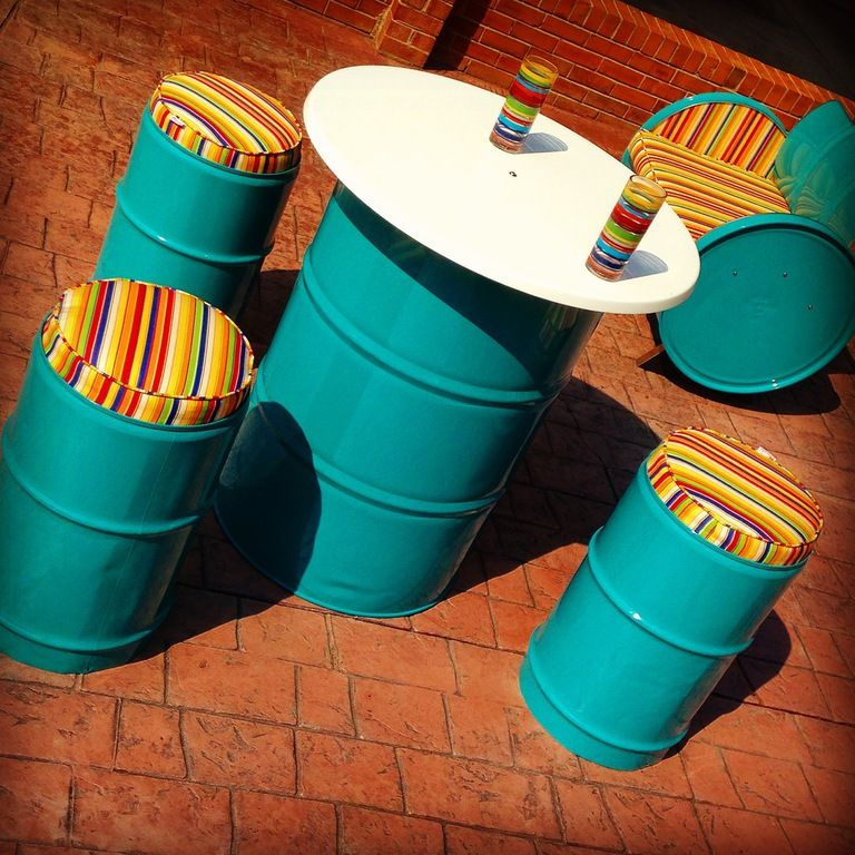 Custom Made Furniture From Recycled 55 Gallon Steel Drums Fro In Door And Outdoor Use Barrel Furniture Metal Crafts Diy Metal Patio Furniture
