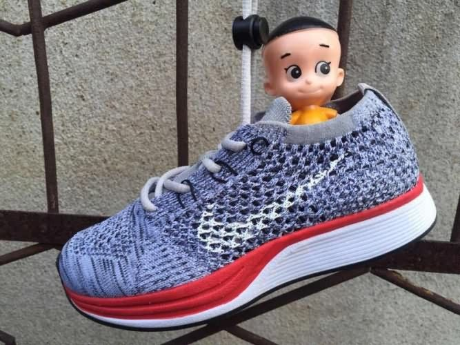 Nike Flyknit Racer Kids Gray Red Only