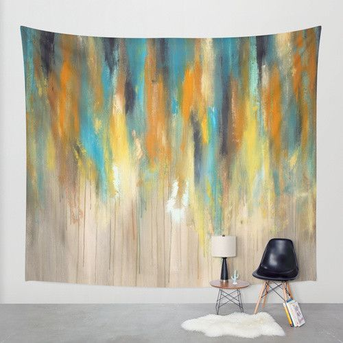 Navy and Gold Paint Drips – Wall Tapestry – Abstract Tree Painting ...