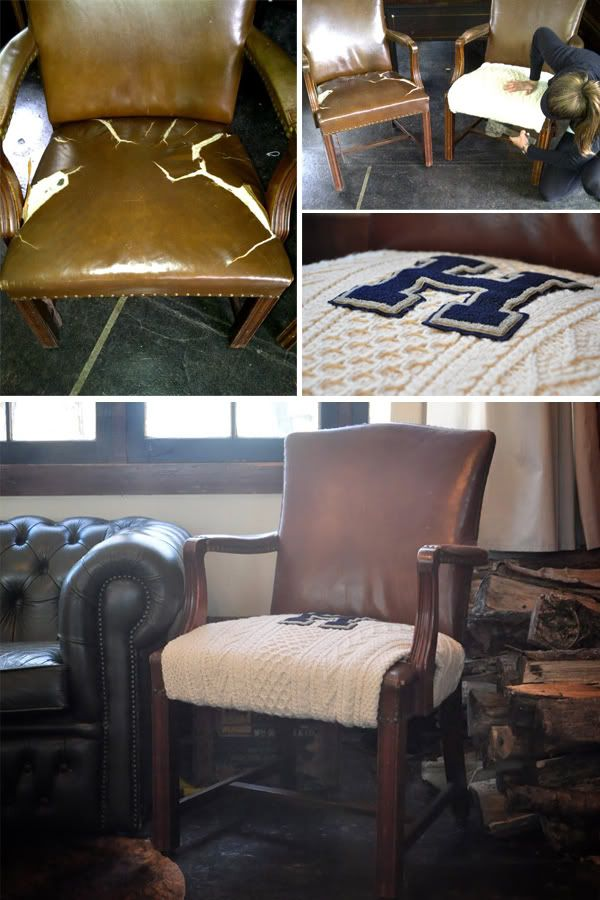 leather chair repair kitchen chairs for sale great redo on old using thick cable knit sweater