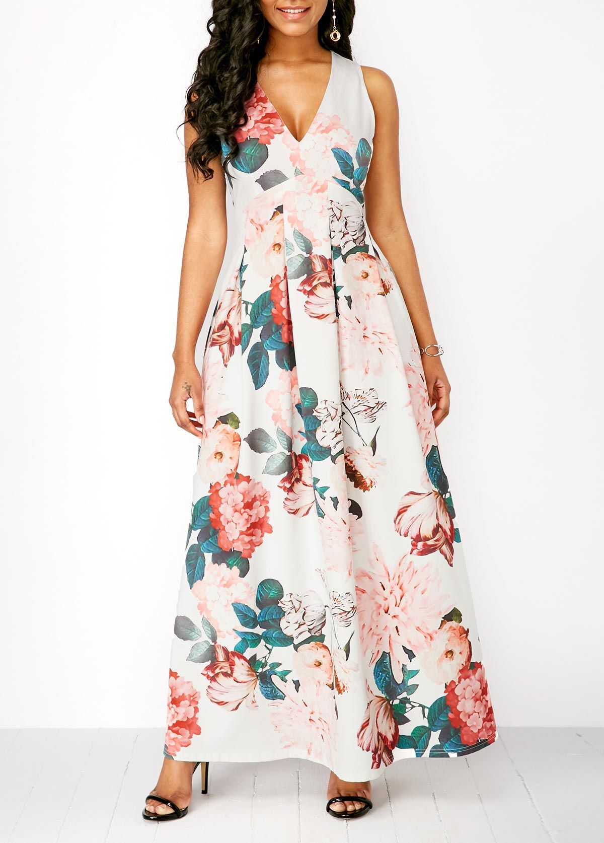 a70659b012a Sleeveless Flower Print V Neck Maxi Dress