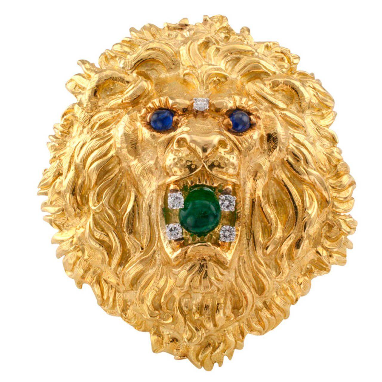 David webb huge emerald sapphire diamond gold lion head brooch david webb huge emerald sapphire diamond gold lion head brooch pendant aloadofball Choice Image