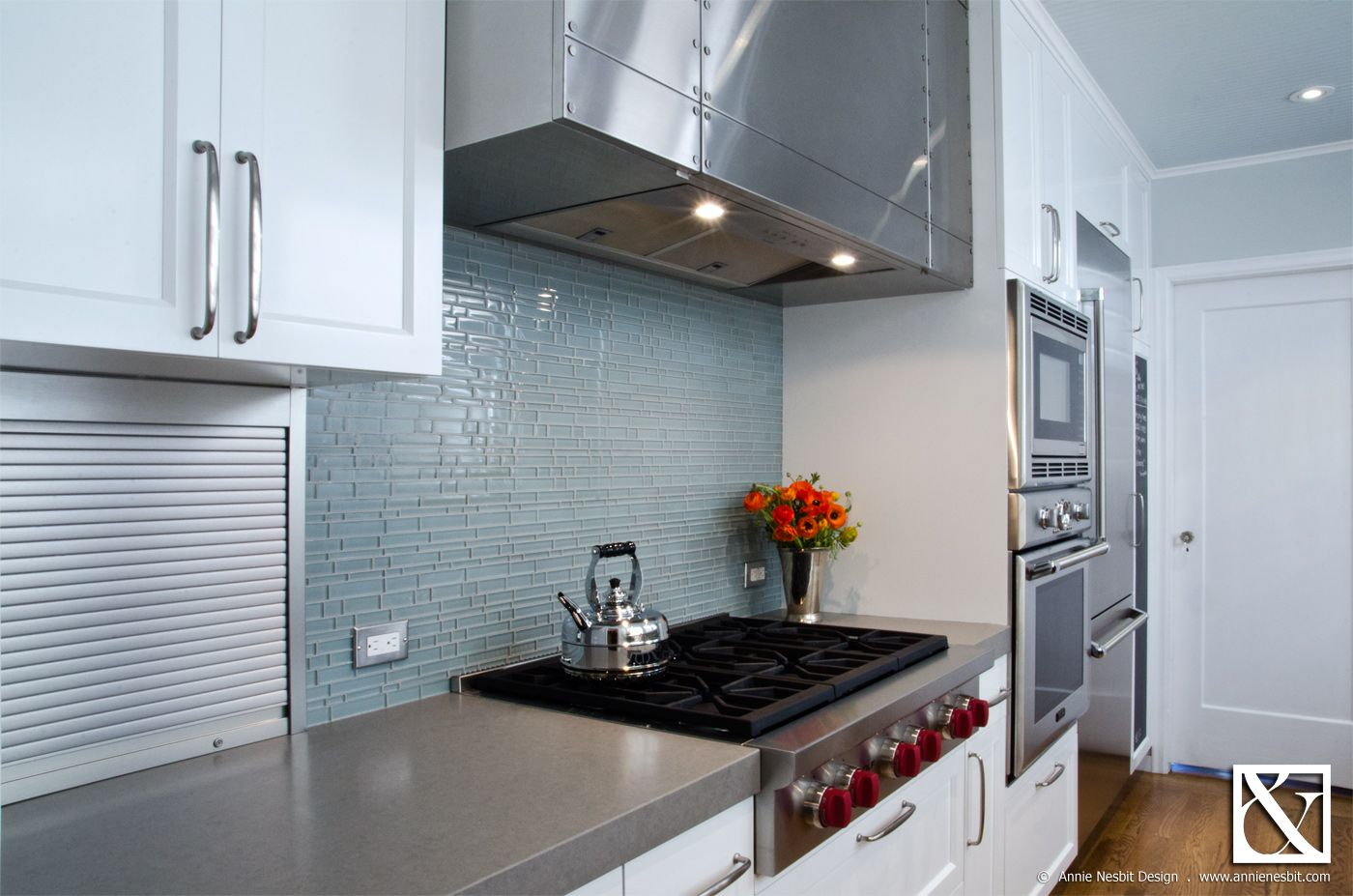 Concrete countertops and glass tile backsplash in modern/traditional ...