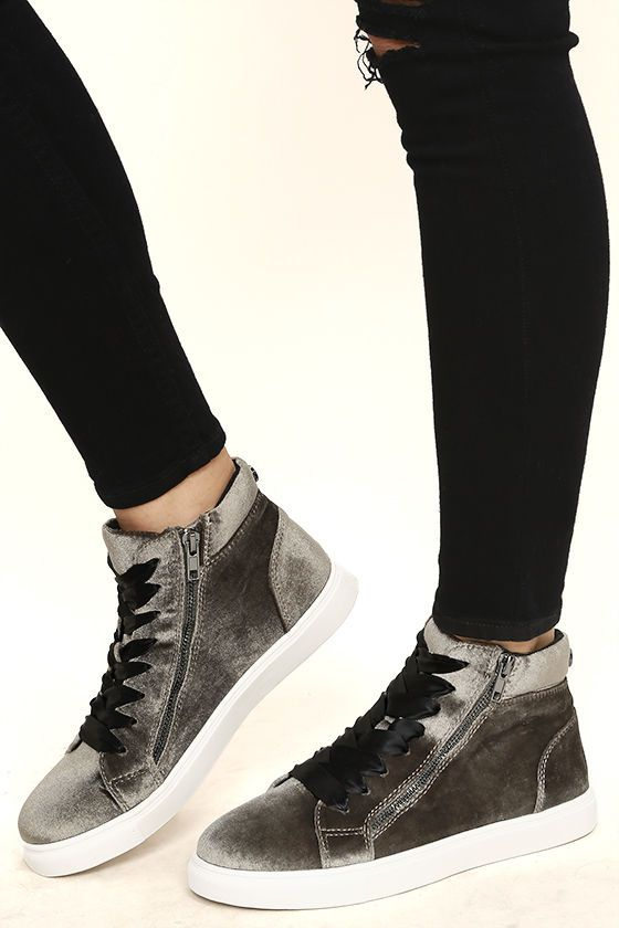 Cool girls everywhere are flocking to the Steve Madden Earnst Taupe Velvet  Sneakers! Taupe-