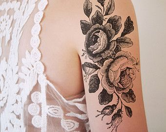 Grand tatouage temporaire floral / tatouage temporaire rose / | Etsy