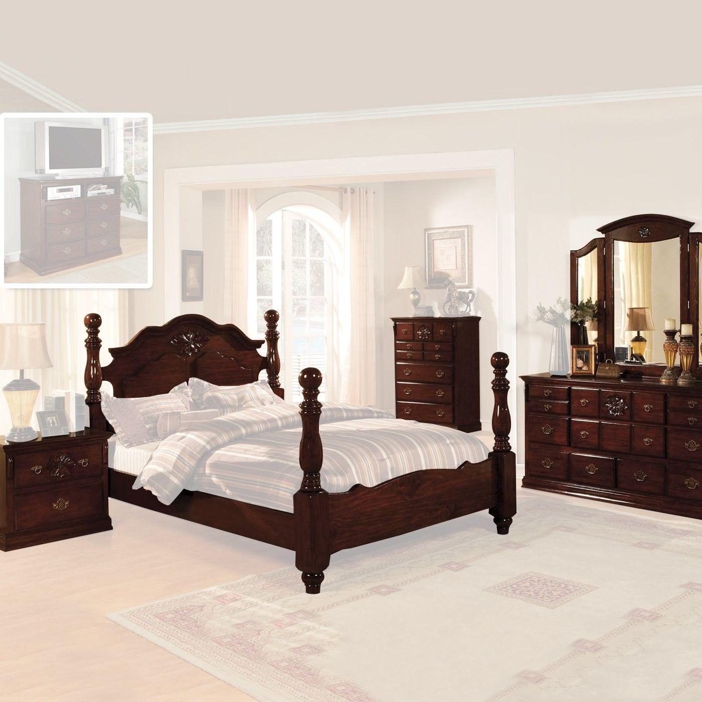 Furniture of America Tuscan Five Piece Bedroom Set, Dark