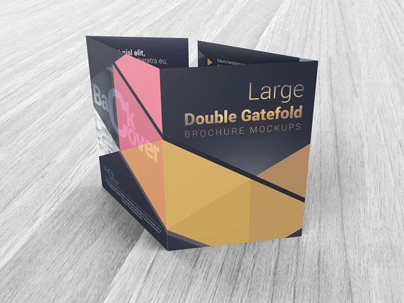 Double Gatefold Brochure Mockups  Mockup Brochures And Fonts