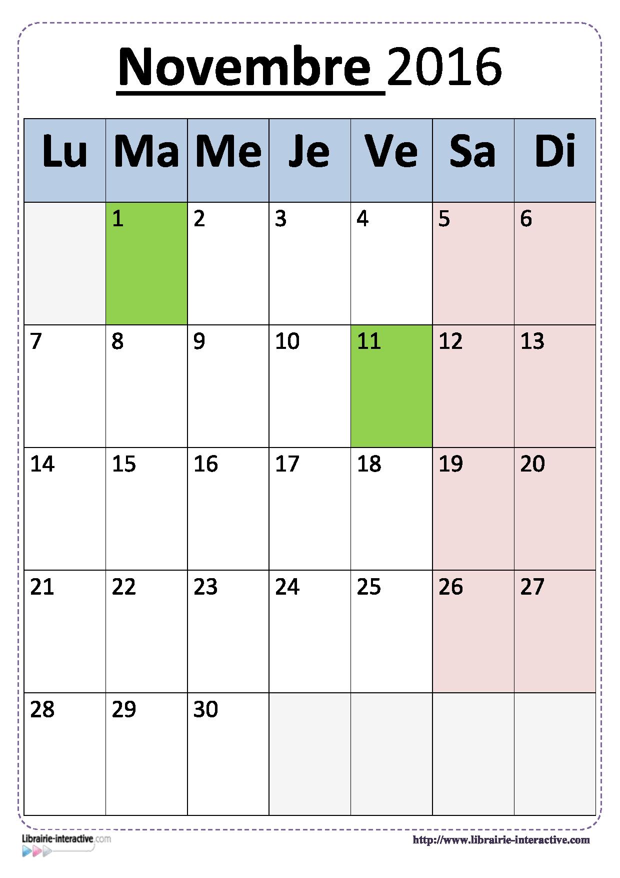 Plusieurs versions du calendrier scolaire 2016-2017 pour un affichage en classe.