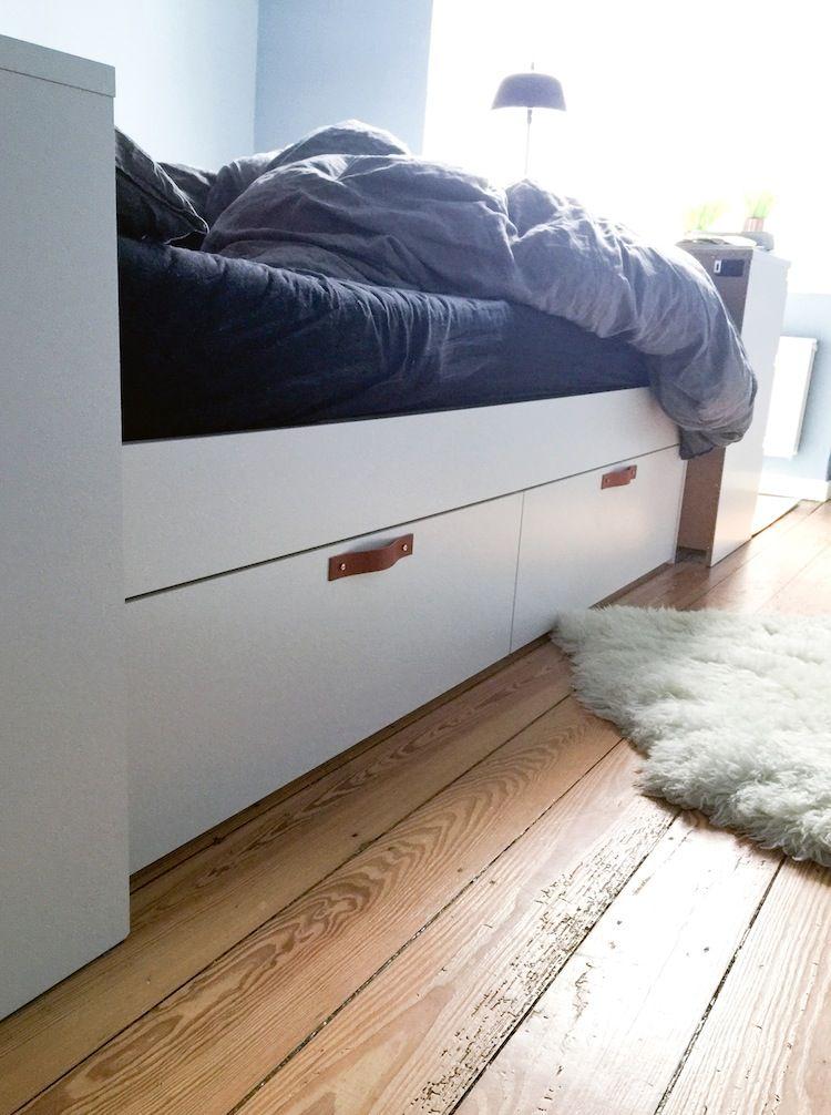 Bett Brimnes Von Ikea Mit Ledergriffen. DIY Auf Hambugvoninnen.de
