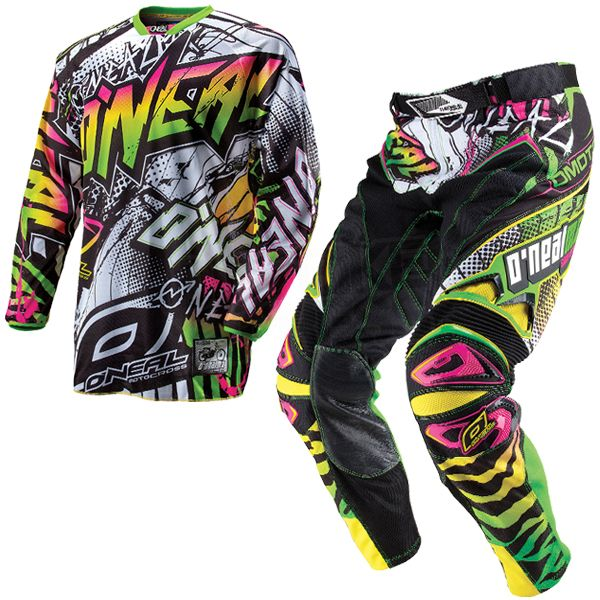2014 O Neal Hardwear Automatic Kit Combo White Neon Dirt Bike Suits Motocross Gear Dirt Bike Gear