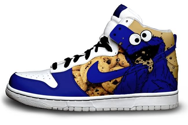 Mind Blowing Custom Designed Nike Cookie Monster shoes...so cool!