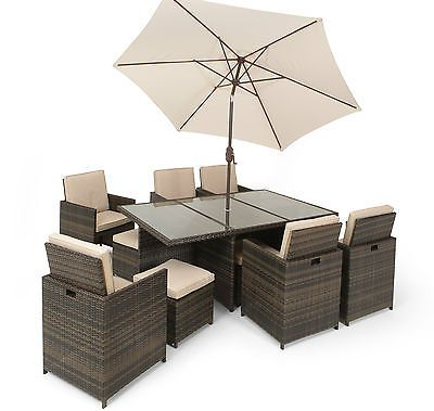 BROWN RATTAN DESIGNER    13pc CUBE SET (GSET1457) £1199