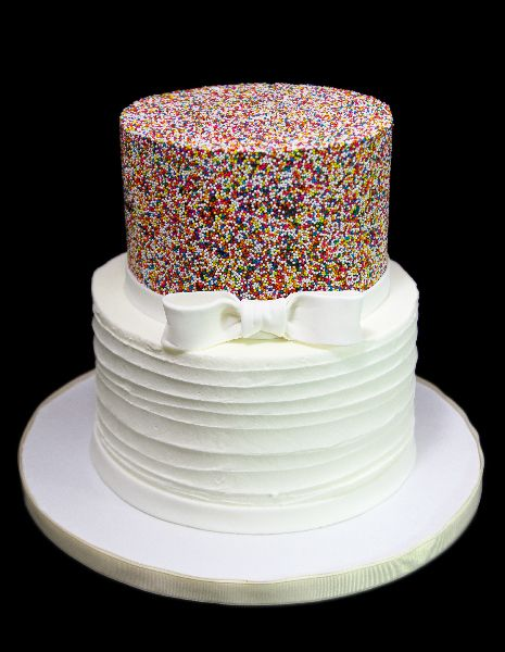 Rustic Sprinkle & Bow Petite Wedding Cake   Sprinkle ...