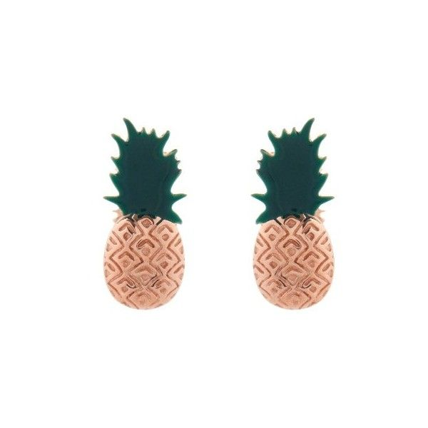 Aamaya by Priyanka Enamel & rose-gold plated pinapple earrings ($121) ❤ liked on Polyvore featuring jewelry, earrings, green multi, pineapple jewelry, aamaya by priyanka, engraved earrings, enamel earrings and rose gold plated jewelry