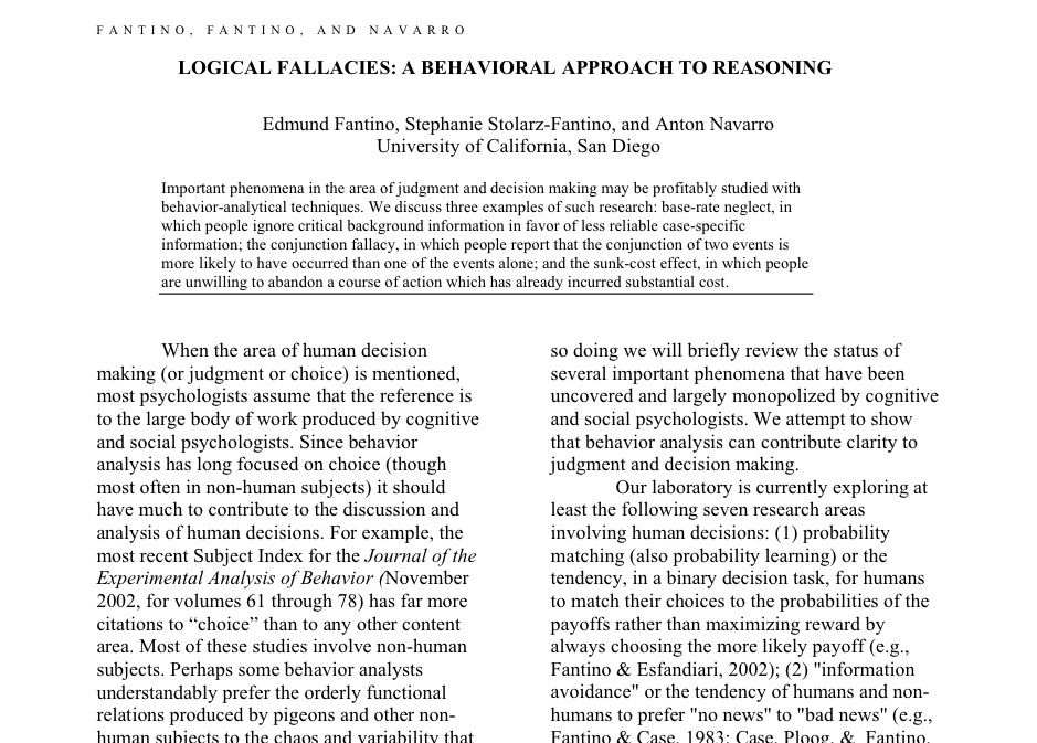 Logical Fallacies A Behavioral Approach to Reasoning
