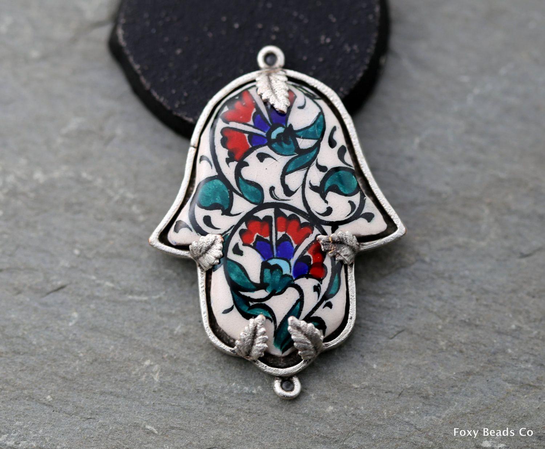 CFS004 Hand Pendant Hand painted Traditional Turkish Cini Ceramic Hamsa Connector Ceramic Hand of Fatima One of a kind