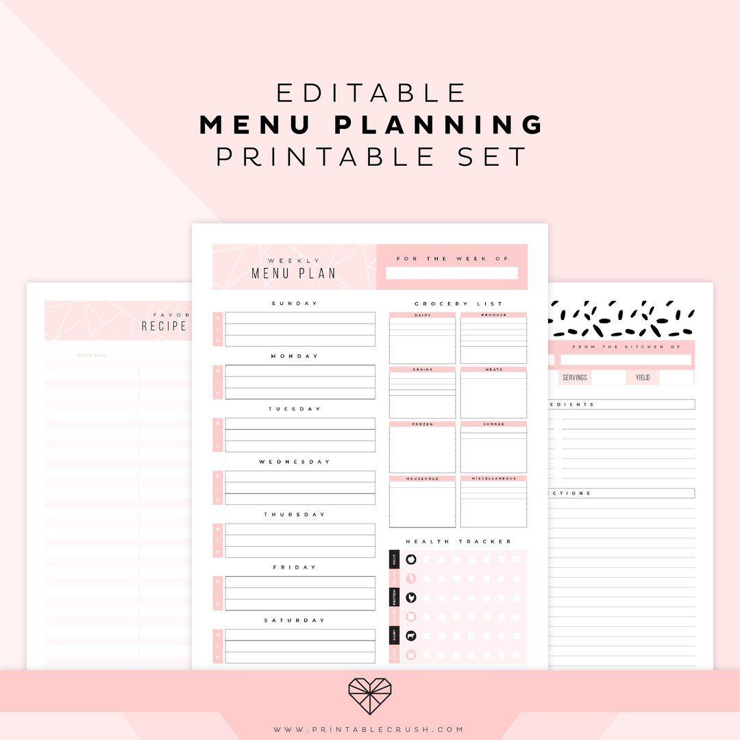 Editable Menu Plan Printable Set