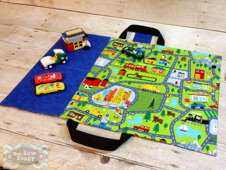 kids car playmat hotwheels car mat car roll travel toy tote toy